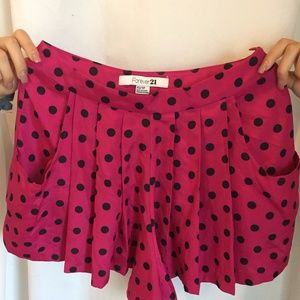 Magenta and Black Polka Dot Skort