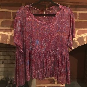 Free People printed baby doll blouse