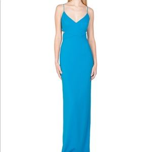 Badgley Mischka Teal Odessa Crossover Gown, size 4
