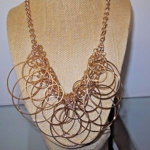 2 pc Circles gold plated necklace & earring set