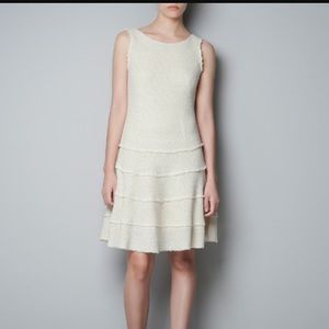 Zara Cream Flounced Hem Fit & Flare Dress size Sm