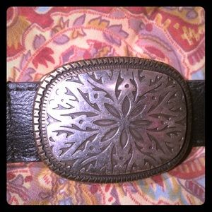 Black Brighton belt with pewter & brass buckle