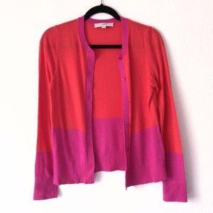 LOFT Pink and Orange Cardigan
