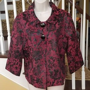 Notations blazer cardigan floral print collared Lg