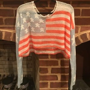 WILDFOX American Flag crop sweater