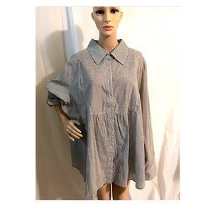NWT PLUS SIZE Striped blouse tunic shirt button