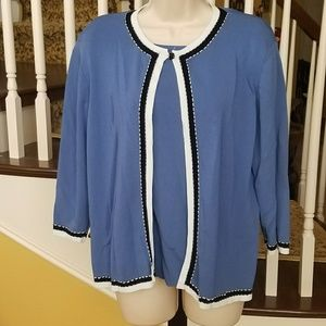 Alfred Dunner shirt attached to cardigan one piece