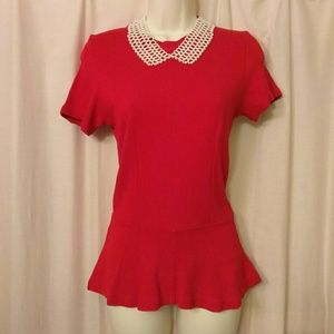 Zara Collection Red Peplum Top