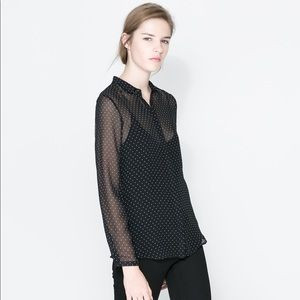 Zara Sheer Ecru Polka Dot Blouse Small