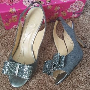 Kate Spade Sling Shoes With Sparkly Bows  Sz 8