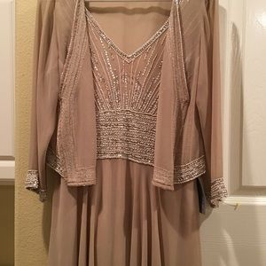 Nordstrom blush nude beaded gown