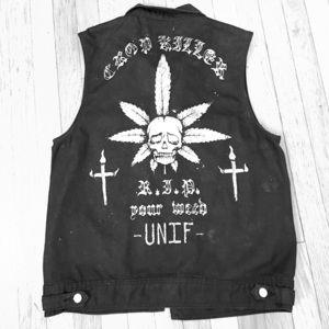 Unisex UNIF black denim vest sz L. RIP YOUR WEED