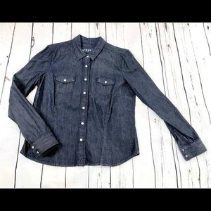 GAP Denim Chambray Snap Button Down Top