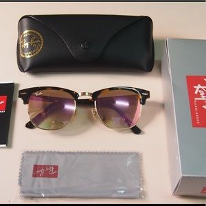 RB clubmaster 3016 rose gold mirror sunglasses
