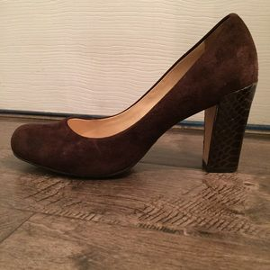 Cole Haan Nike Air brown suede chunky heeled pumps