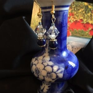 Vntg Blue Lapiz & Vntg Real Crystal Beads 12K GF