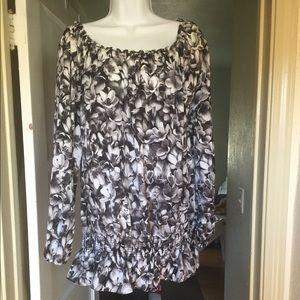 EUC Michael kors gray floral blouse with elastic