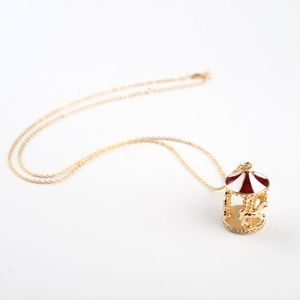 Carousel Merry-go-round Gold Red White Necklace