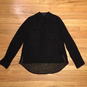 BCBG Maxazria black sheer l/s blouse - sz XS