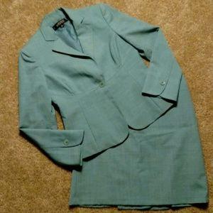 Kasper Petite Light Blue 4P 2Pc Skirt Suit