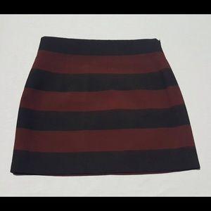 Zara Black & Red Striped Mini Skirt
