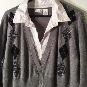 Kim Rogers Oxford Gray Argyle Print Top 2X