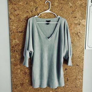 New York & Co. Slate Gray V-Neck Sweater