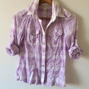 Banana Republic plaid button front top XS