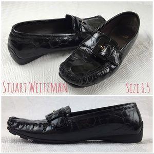"Stuart Weitzman ""Cia"" Croc Patent Leather Loafers"