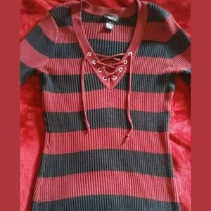Red and black stripped sweater