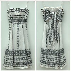 BCBG Max Azria XS floral white tea length dress