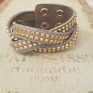 Jewelry - Gold Studded Leather Cuff