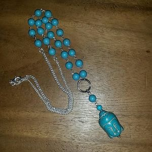 Turquoise good karma Buddha head sterling necklace