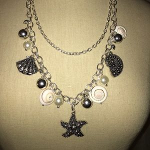 Cute Sea shell double chain necklace, never worn
