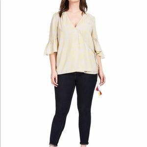 Melissa McCarthy Bell Sleeve Wrap Top 2X NWT