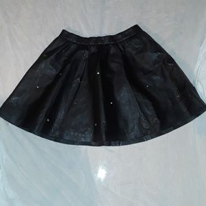 DIVIDED BLACK  FAUX LEATHER SKATER SKIRT
