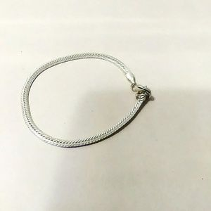 Forever 21 Small Thin Shiny Flat Silver Bracelet
