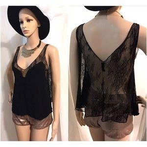 Zara black sheer lace top