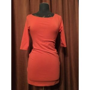 Carrot-Orange Skin Tight Dress