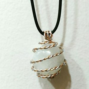 528hz miracle frequency infused Selenite Necklace