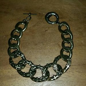 Large chain brass cross etched bracelet
