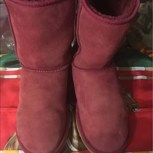 UGG Pink Suede Leather Boots Size 9