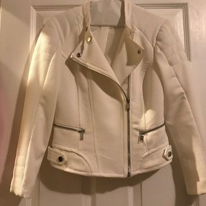 White quilted motorcycle jacket