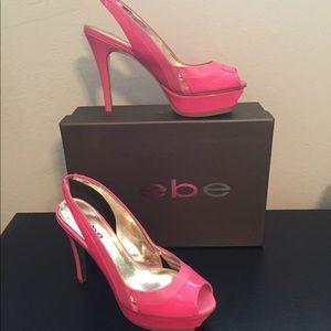 bebe Maxwell bright pink platform heels, NWT, 8