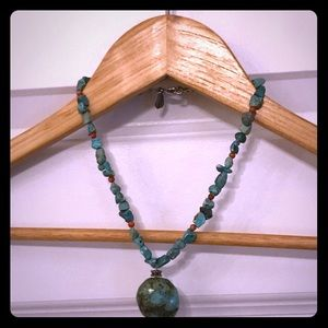 Chunky green and red turquoise necklace