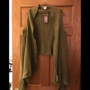 Olive green shawl top