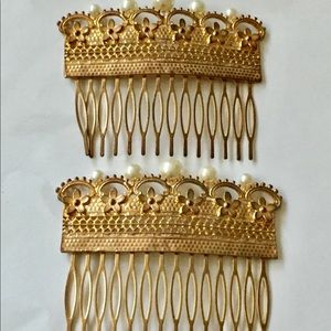 Vintage hair barrettes gold combs