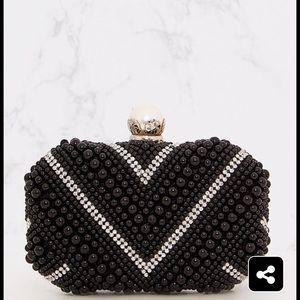 💎Black diamanté clutch bag💎