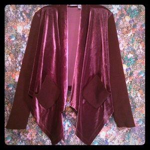 Plum velvet & ribbed knit drape front cardigan