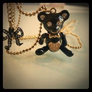 Betsey Johnson bear & bow necklace